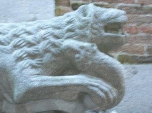 il leone  in lotta.con il serpente